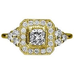 0.84 Carat 14 Karat Gold Radiant Halo Diamond Ring, Edwardian Style Halo Ring