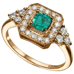 0.84 Carat 14 Karat Rose Gold Cushion Emerald Engagement Ring