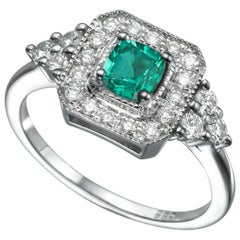 0.84 Carat 14 Karat White Gold Cushion Emerald Vintage Engagement Ring