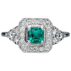 0.84 Carat 950 Platinum Cushion Emerald Engagement Ring