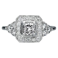 0.84 Carat 950 Platinum Ring Cushion Diamond Ring, Diamond Halo Ring