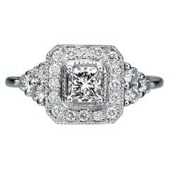 0.84 Carat 950 Platinum Ring Cushion Diamond Ring, Diamond Halo Art Deco Ring