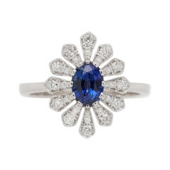0.84 Carat Blue Sapphire and Diamond Flower Ring