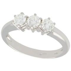 0.84 Carat Diamond and 18 Karat White Gold Trilogy Ring