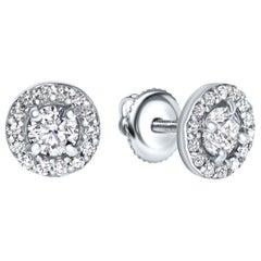 0.84 Carat Diamond Large Halo Earrings in 14 Karat White Gold - Shlomit Rogel