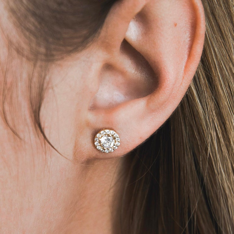 0.84 Carat Diamond Large Halo Earrings in 14 Karat Yellow Gold, Shlomit Rogel For Sale 1