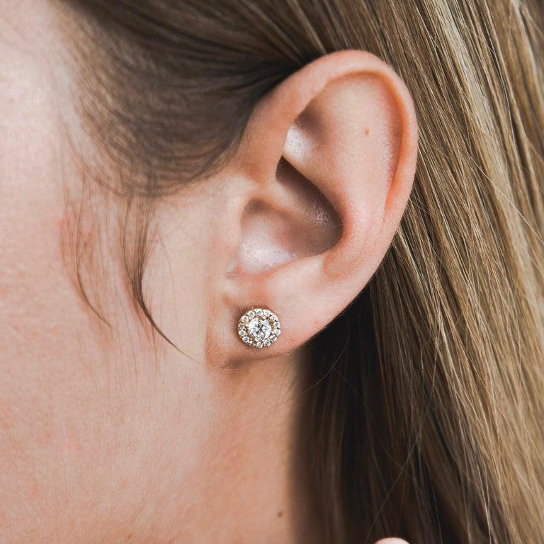 0.84 Carat Diamond Large Halo Earrings in 14 Karat Yellow Gold, Shlomit Rogel For Sale 2
