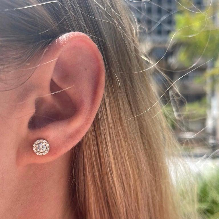 Art Deco 0.84 Carat Diamond Large Halo Earrings in 14 Karat Yellow Gold, Shlomit Rogel For Sale
