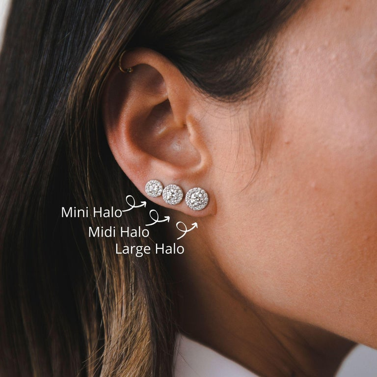 Round Cut 0.84 Carat Diamond Large Halo Earrings in 14 Karat Yellow Gold, Shlomit Rogel For Sale