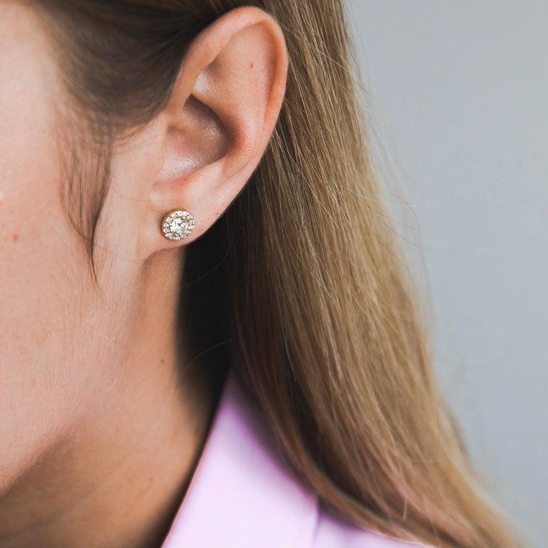 0.84 Carat Diamond Large Halo Earrings in 14 Karat Yellow Gold, Shlomit Rogel In New Condition For Sale In Ramatgan, IL