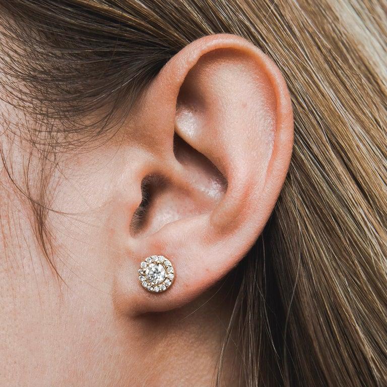 Women's 0.84 Carat Diamond Large Halo Earrings in 14 Karat Yellow Gold, Shlomit Rogel For Sale