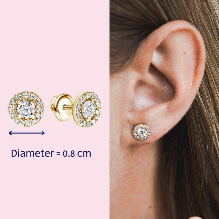 0.84 Carat Diamond Large Halo Earrings in 14 Karat Yellow Gold, Shlomit Rogel For Sale 3