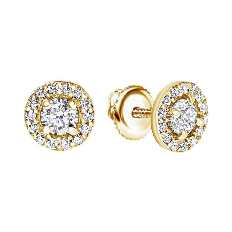0.84 Carat Diamond Large Halo Earrings in 14 Karat Yellow Gold, Shlomit Rogel For Sale