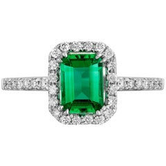 0.84 Carat Emerald Diamond Cocktail Ring
