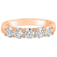 0.84 Carat Round Diamond Five-Stone Wedding Band