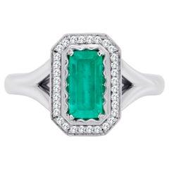 0.84 Ct Classic Russian Emerald Cut 18K Gold Ring
