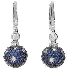 0.84 White GVS Diamonds 4.24 Blu Sapphires 18 Karat Gold White Earrings