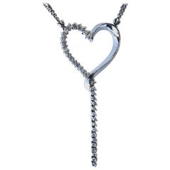 0.85 Carat 14 Karat Pave Set Diamond Heart Necklace