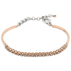 0.85 Carat Diamond 14 Karat Rose and White Gold Oval Flex Cuff Bracelet