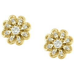 0.85 Carat Diamond Floral Jacket Flower Stud Earrings in 18 Karat Yellow Gold