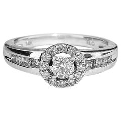 0.85 Carat Diamond White Gold Engagement Ring in 14 Karat White Gold