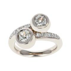 0.85 Carat Each Two Round Diamonds Toi Et Moi Engagement Ring