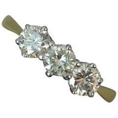 0.85 Carat Natural Diamond 18 Carat Gold Trilogy Ring