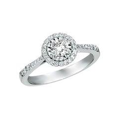 0.85 Carat Natural Diamond Engagement Ring G SI 14 Karat White Gold