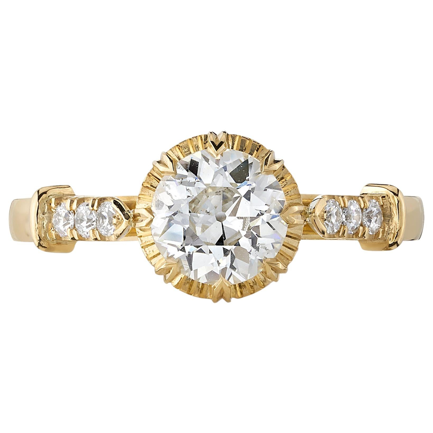 0.85 Carat Old European Cut Diamond Set in a Yellow Gold Engagement Ring