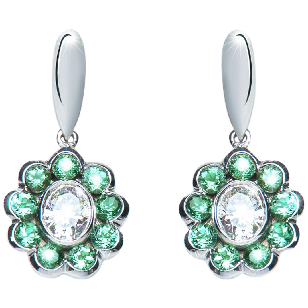 0.85 Carat Oval Diamond Green Tourmaline Flower Drop Earrings Natalie Barney