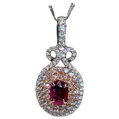 0.85 Carat Oval Ruby Diamond Pendant