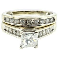 0.85 Carat Princess Cut Diamond Engagement Ring Set of 14 Karat White Gold