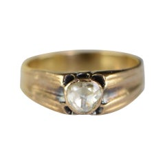 0.85 Carat Rose Cut Victorian Gold Engagement Ring