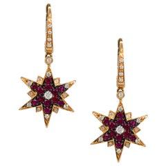 0.85 Carat Round Ruby Star Shape Earrings with Diamonds 18 Karat in Stock