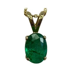0.85 Carat Vivid Green Emerald Oval Cut Yellow Gold Solitaire Pendant Necklace