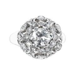 0.85 Center Diamond Platinum Ring with Accenting 0.90 Round Diamonds, Platinum