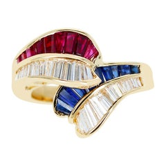 0.85 Ct. Ruby, 0.85 Ct. Sapphire and 0.84 Ct. Diamond Overlapping Ring, 18k Gold