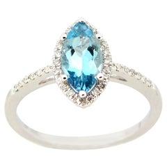 0.85 Marquise Aquamarine and Diamond Ring