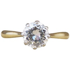 0.85 Carat Diamond Solitaire Ring in 18 Carat Yellow Gold and Platinum