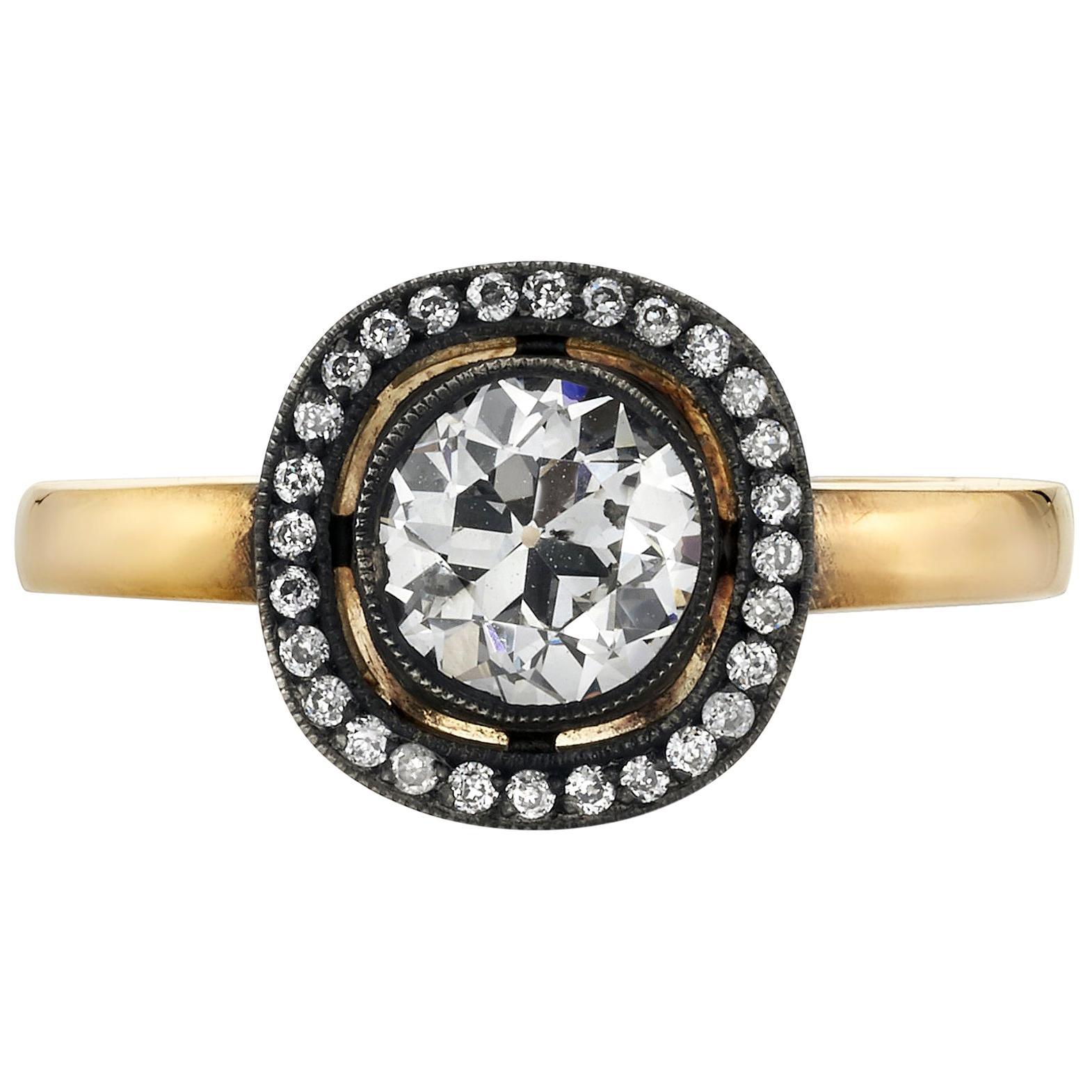 0.85 Carat Old European Cut Diamond Set in a Rose Gold Engagement Ring
