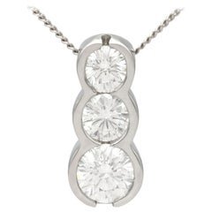 0.86 Carat Diamond and Platinum Trilogy Pendant
