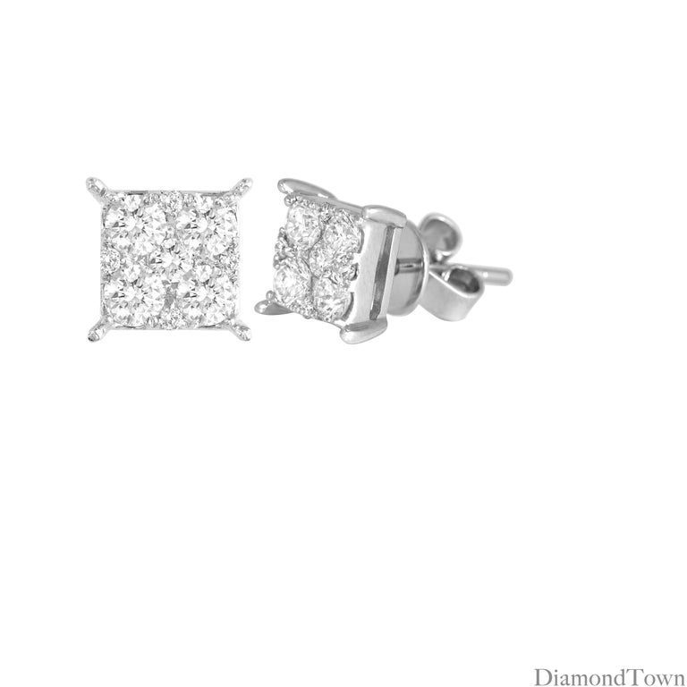 These stunning earrings contain round diamonds carefully arranged into a square setting to give the illusion of one larger princess cut stone. A simple and inexpensive way to get your desired sparkle.  8 round diamonds total 0.74 carats. 10 round