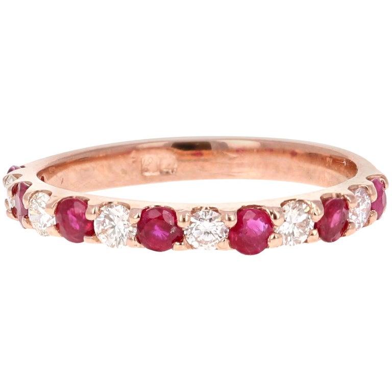 0.86 Carat Diamond Ruby Rose Gold Band