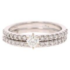 0.86 Carat Diamond Wedding Set 14 Karat White Gold