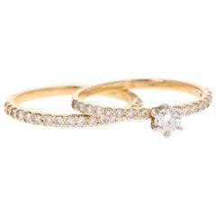 0.86 Carat Diamond Wedding Set 14 Karat Yellow Gold