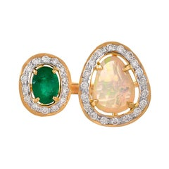0.86 Carat Ethiopian Opal Emerald and Diamond 18kt Yellow Gold Open Band Ring
