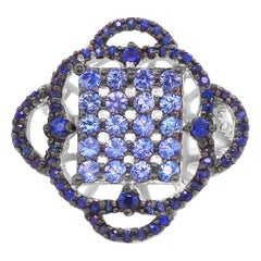 0.86 Carat Round Blue Sapphire and Diamond Ring 14 Karat White Gold