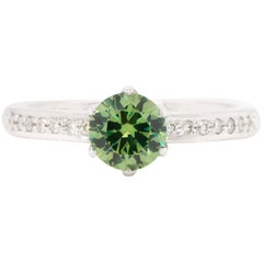 Russian Demantoid 14 Karat White Gold Diamond Engagement Wedding Ring
