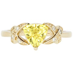 0.86 Carat Trillion Cut Yellow Beryl and White Diamond Ring