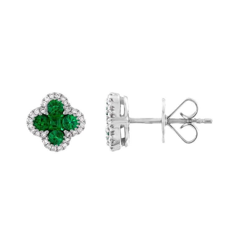 0.86 Carat Emerald Diamond Clover Stud Earrings